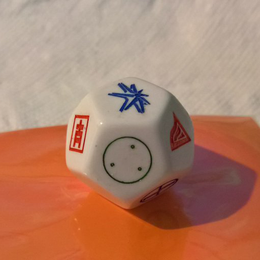 Example of a custom D12 (twelve-sided die)